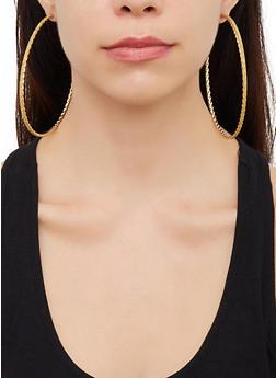 Oversized Glitter Hoop Earring Trio - 3122062927417