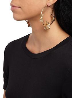 Metallic Butterfly Hoop Earrings - 3122062927495