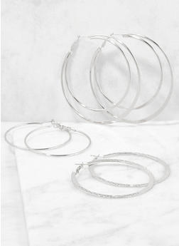 Metallic Hoop Earring Trio - 3122062927515