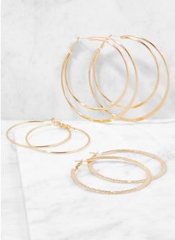 Metallic Hoop Earring Trio - 3122062927515