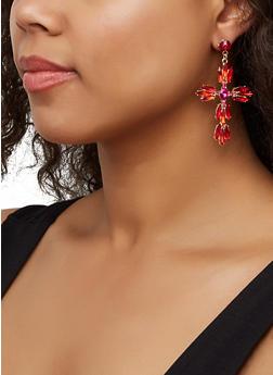 Jeweled Cross Drop Earrings - 3122062927546