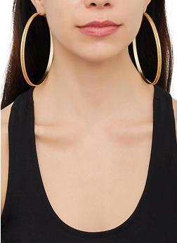Oversized Metallic Hoop Earring Trio - 3122062927580