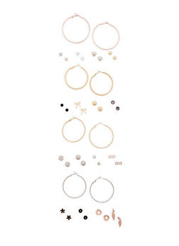 Assorted Set of Stud and Hoop Earrings - 3122062927968