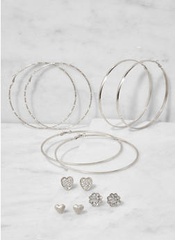 Set of 6 Assorted Hoop and Stud Earrings - 3122062928089
