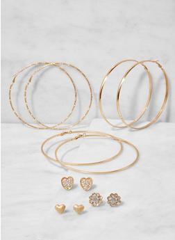 Set of 6 Assorted Hoop and Stud Earrings - 3122062928089