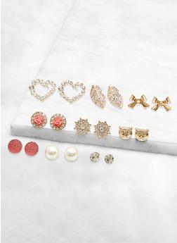 9 Assorted Rhinestone Star Stud Earrings - 3122062928147