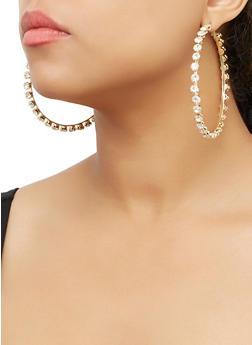 Rhinestone Metallic Hoop Earrings - 3122062928608
