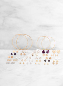 Set of 30 Mixed Stud and Hoop Earrings - 3122062928626