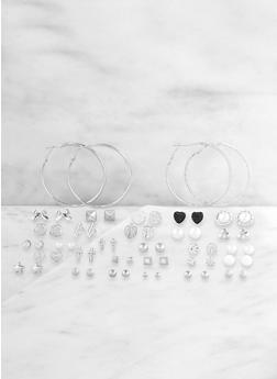 Set of 30 Mixed Hoop and Stud Earrings - 3122062928629