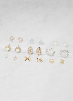 Set of 9 Assorted Stud Earrings - 3122062928663