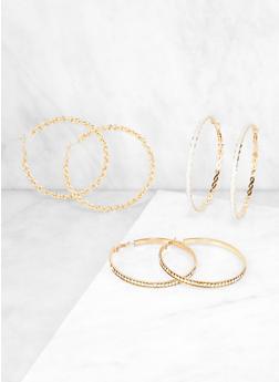 Chain Link Hoop Earring Trio - 3122062928671