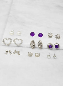 Assorted Rhinestone Stud Earrings Set - 3122062929358