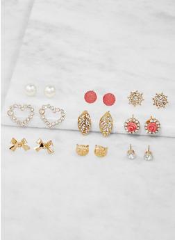 Assorted Rhinestone Stud Earrings Set - 3122062929358