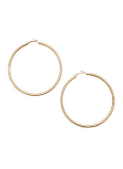 Oversized Metallic Hoop Earrings - 3122062929395