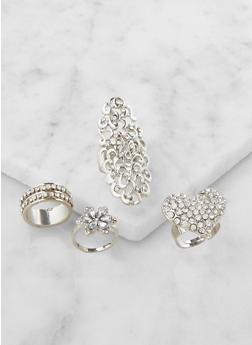 Set of 4 Rhinestone Rings - 3122062929404