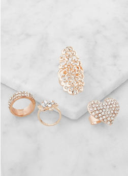 Set of 4 Rhinestone Rings - 3122062929404