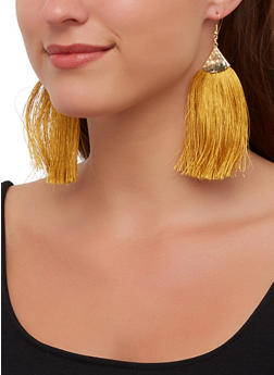 Hammered Metallic Fringe Drop Earrings - 3122062929426