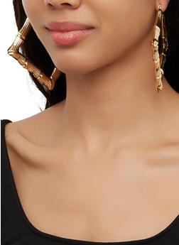 Square Metallic Bamboo Hoop Earrings - 3122062929569