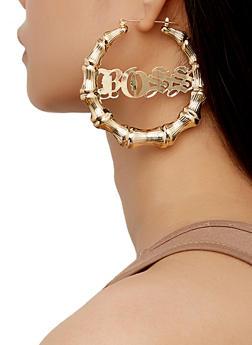 Boss Bamboo Hoop Earrings - 3122062929834