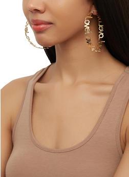 Love Metallic Hoop Earrings - 3122062929880