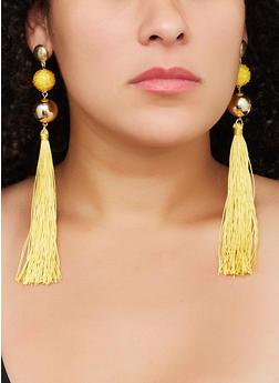 Beaded Metallic Ball Tassel Drop Earrings - 3122062929908