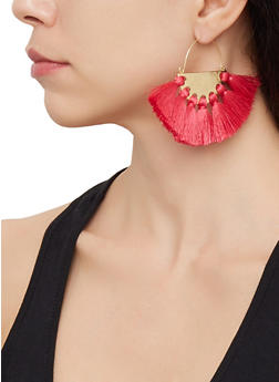 Half Disc Tassel Earrings - 3122062929928
