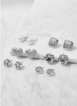 Set of 6 Assorted Stud Earrings - 3122062929991