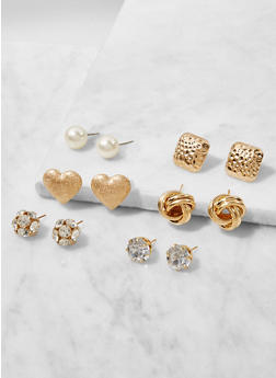 Set of 6 Assorted Stud Earrings - 3122062929991