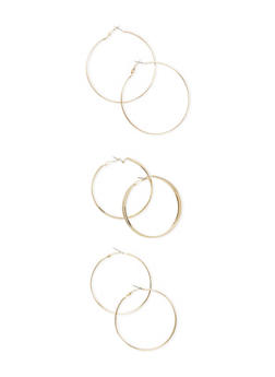 Set of 3 Assorted Hoop Earrings with Glitter Finishes - 3122069754210