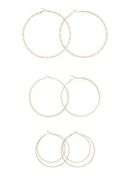 Set of 3 Textured Hoop Earrings - 3122070430741