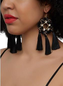 Beaded Tassel Fringe Drop Earrings - 3122071218112