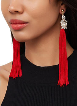 Long Tassel Rhinestone Earrings - 3122071218171