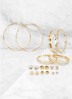 9 Stud and Hoop Earrings Set - 3122071430032