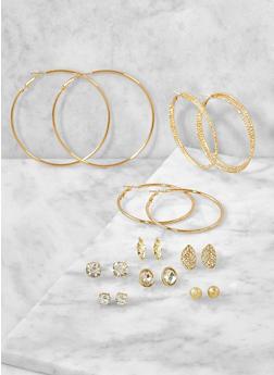 Set of 9 Metallic Hoop and Stud Earrings - 3122071432028