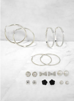 Metallic Stud and Hoop Earrings Set | 3122071432116 - 3122071432116