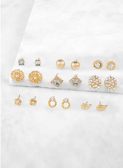 Set of 9 Metallic Stud Earrings - 3122071432123
