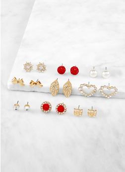 Rose Heart Stud Earrings Set - 3122071432126