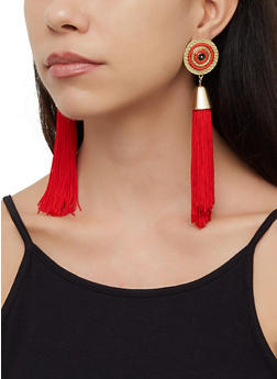 Beaded Metallic Tassel Drop Earrings - 3122071432270