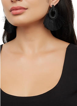Textured Hoop Fringe Fan Earrings - 3122071432500