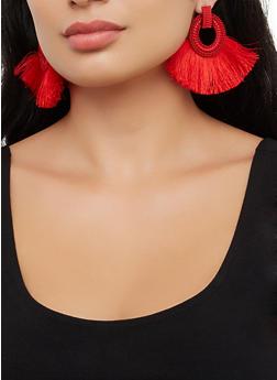 Textured Hoop Fringe Fan Earrings - 3122071432500
