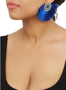Beaded Disc Fringe Fan Earrings - 3122071432520