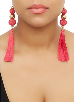 Metallic Bead Tassel Earrings - 3122071432530