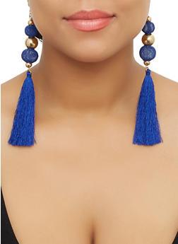 Metallic Bead Tassel Earrings - 3122071432530