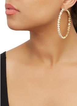 Rhinestone Hoop Earrings | 3122071432540 - 3122071432540