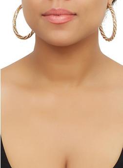 Rhinestone Open Hoop Earrings - 3122071432550