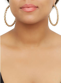 Rhinestone Twist Hoop Earrings - 3122071432560