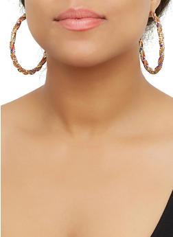 Rhinestone Twist Hoop Earrings - 3122071432560