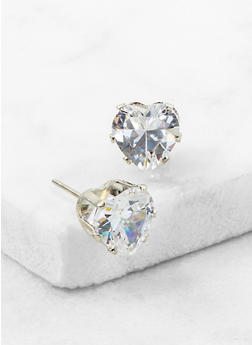 Heart Cubic Zirconia Stud Earrings - 3122071432582