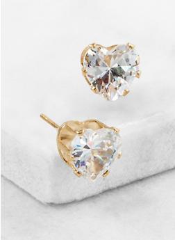 Heart Cubic Zirconia Stud Earrings - 3122071432582