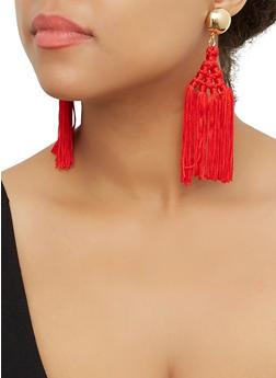 Woven Multi Tassel Drop Earrings - 3122071432590